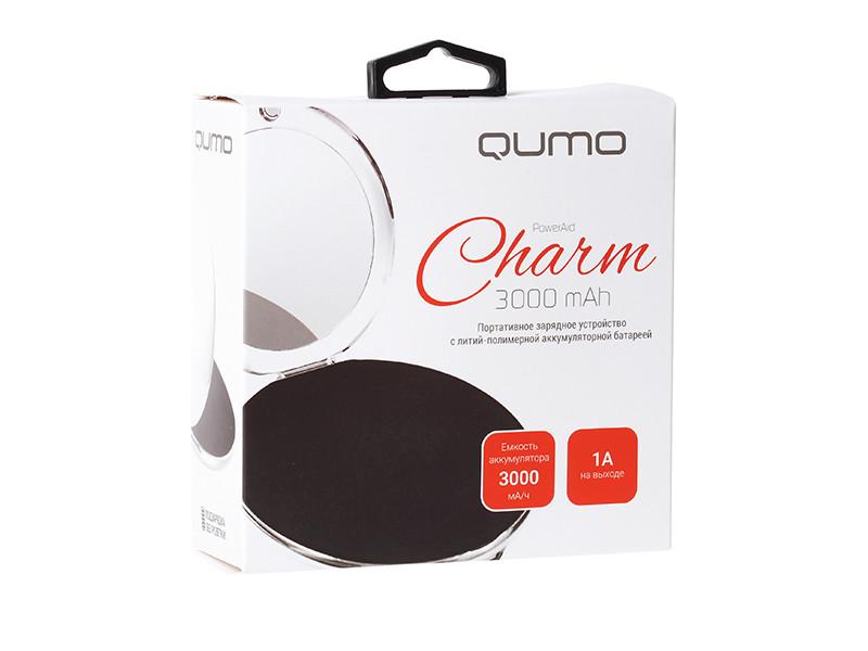 Внешний аккумулятор Qumo PowerAid Charm, литий-полимерный, 3000 мА-ч, 1 USB 1A, вход 1А, форма пудренницы с зеркалом внешний аккумулятор qumo poweraid camper 4000 ма ч выход 5в 2 1а вход 5в 2а солнечная панель 900 ма