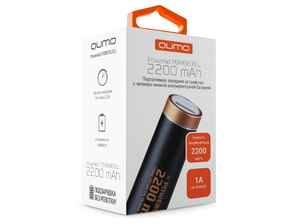 Внешний аккумулятор Qumo PowerAid PowerCell 2.2, литий-ионный, 2200 мА-ч, 1 USB 1A, вход 0.5A, металлический корпус, раскраска под Duracell внешний аккумулятор samsung eb pn930csrgru 10200mah серый