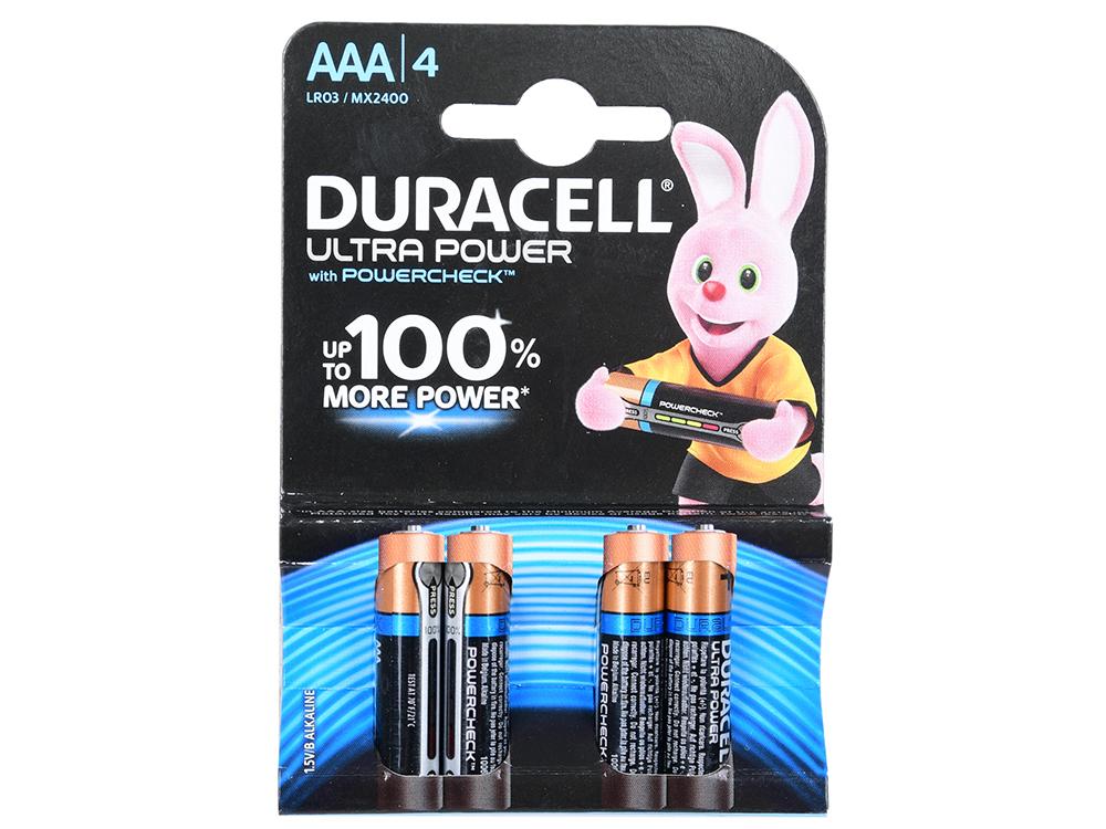 Батарейки Duracell LR03-4BL Ultra Power AAA блистер 4 шт батарея duracell aaa basic mn2400 b2 блистер 2 шт page 1