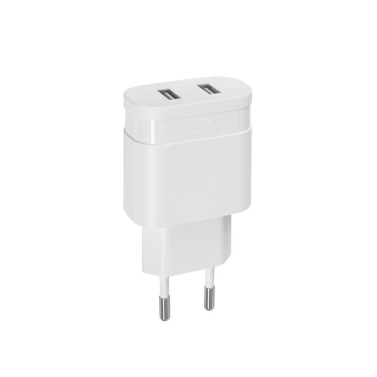 Сетевое зарядное устройство RIVAPOWER VA4123 W00 белое 3,4A / 2USB, без кабеля сетевое зарядное устройство rivapower va4123 wd1 белое 3 4a 2usb с кабелем micro usb
