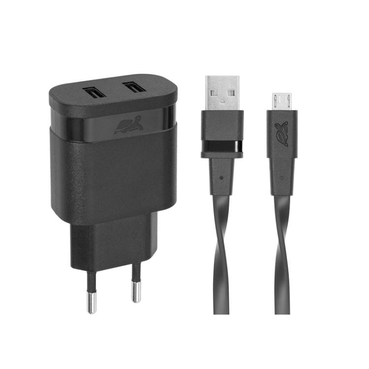 Сетевое зарядное устройство RIVAPOWER VA4123 BD1 черное 3,4A / 2USB, с кабелем Micro USB автомобильное зарядное устройство rivapower va4225 wd2 белое 3 4a 2usb с кабелем mfi lightning