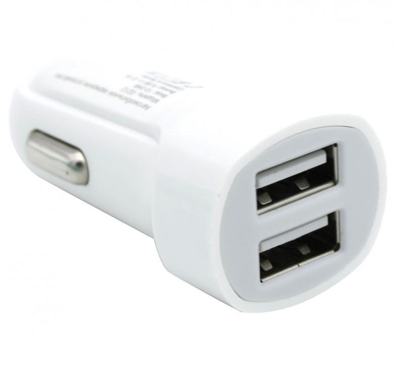 Автомобильное зарядное устройство BoraSCO 2 USB, 2,1A белое автомобильное зарядное устройство borasco 2 usb 2 1a дата кабель 30pin 1м белый