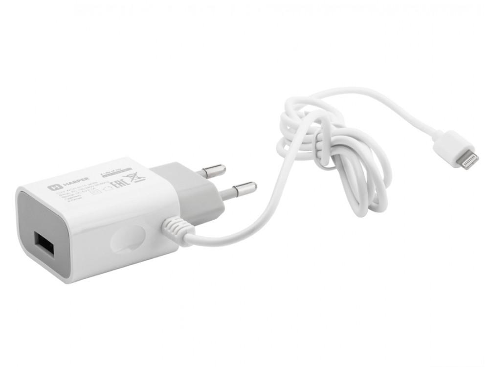 Сетевое зарядное устройство HARPER WCH-5115 WHITE 1xUSB 2.1A + кабель Lightning oxion зарядное устройство сетевое oxion aca 002 lightning