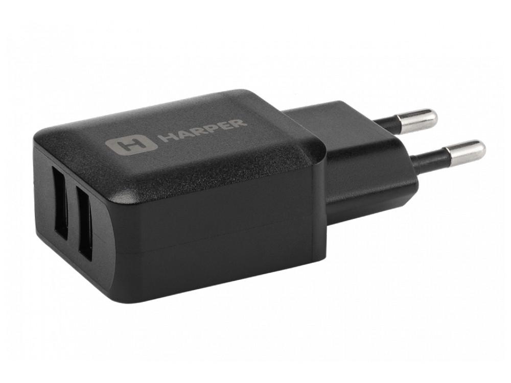 Сетевое зарядное устройство Harper WCH-8220 Black 2xUSB 2.4A зарядное устройство tylt lit ribbnbk t black
