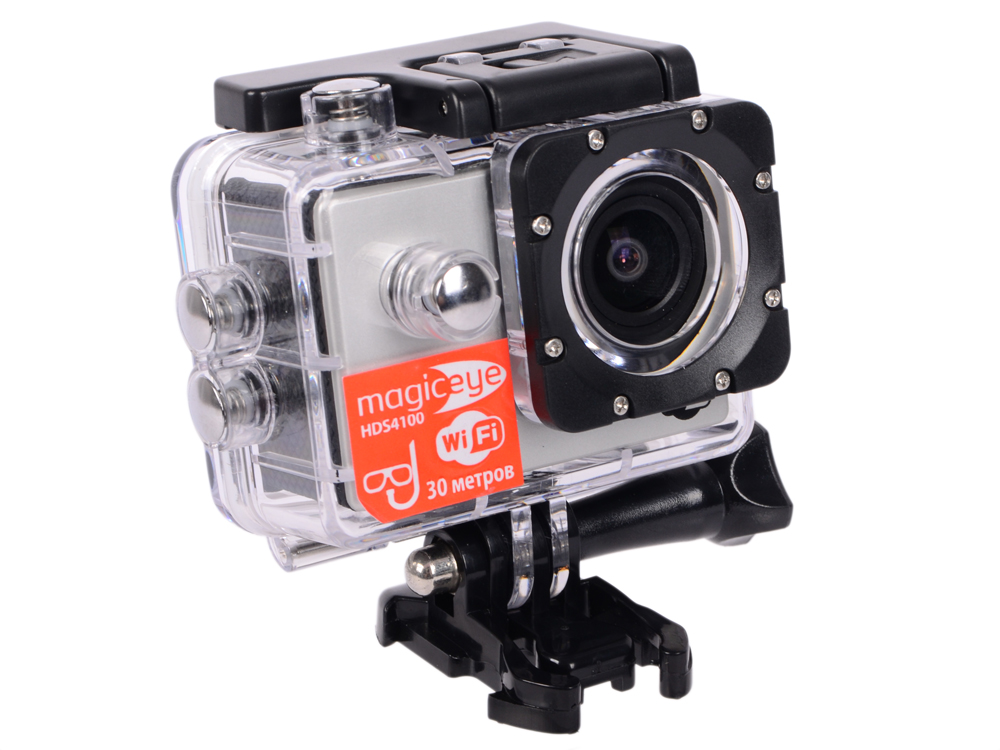 Экшн-камера Gmini MagicEye HDS4100 Silver Мото/Вело/Авто/Спорт, водонепроницаемый, FullHD, 1080p, LCD экран 2, G-sensor, Wi-Fi; HDMI выход экшн камера gmini magiceye hds5100 черный