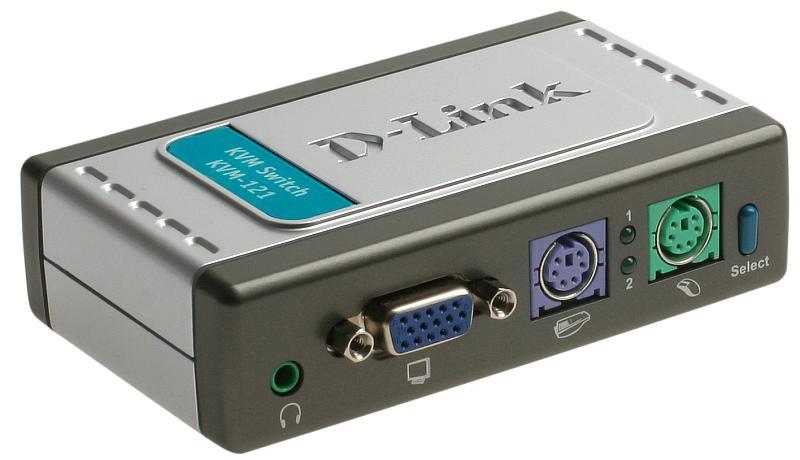 KVM-переключатель D-Link KVM-121 2-портовый KVM-переключатель shanze samzhe сзф 400a 4 портовый kvm переключатель ручного ps2 интерфейс клавиатура мыши kvm переключатель монитора vga совместно с исходной линией