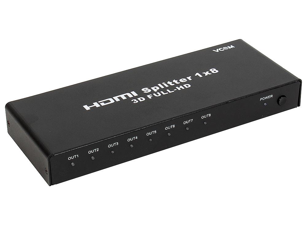 Разветвитель HDMI Spliitter 1=)8 3D Full-HD VCOM 1.4v HDP108 [VDS8048D] каскадируемый сплиттер на 8 мониторов/телевизоров (DD418A) 1080p full hd 1 input 8 output hdmi v1 3 splitter black