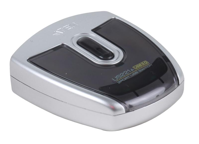 цены Переключатель KVM Aten 2 устройства USB, 2) 1 устройства, с 1 шнуром A)B Male, (USB 2.0) [ATEN US221A-A7]