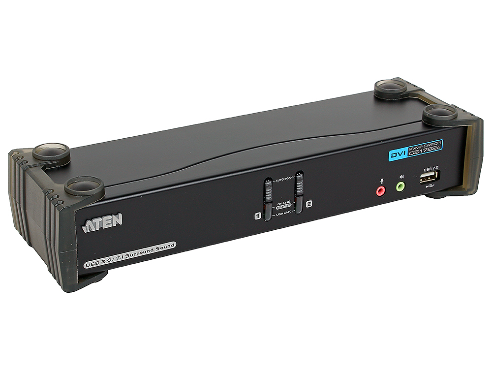 Переключатель KVM ATEN (CS1782A-AT-G) KVM+Audio+USB 2.0,  1 user USB+DVI =)  2 cpu USB+DVI, со шнурами USB 2х1.8м., 2560x1600 60Hz DVI-D Dual Link/204