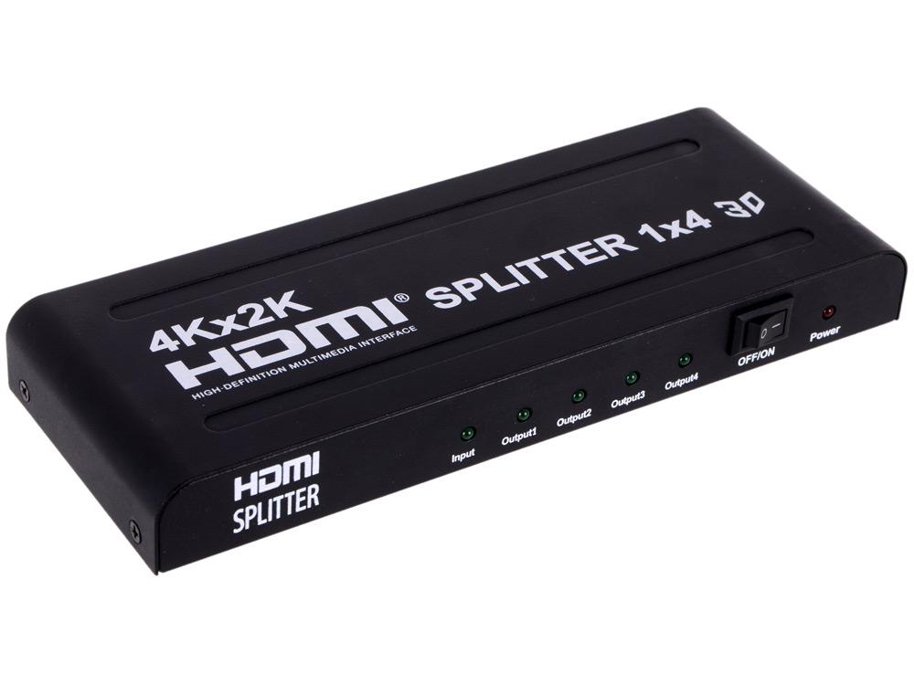 Разветвитель HDMI HDMI 4K Splitter Orient HSP0104H , 1-)4, HDMI 1.4b/3D, UHDTV 4K(3840x2160)/HDTV1080p/1080i/720p, HDCP1.2, внешний БП 5В/1.5A, метал.