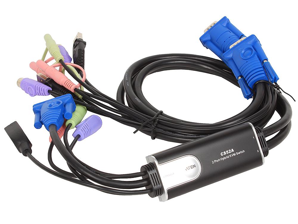 Переключатель KVM ATEN CS52A-A7 2-портовый гибридный KVM переключатель c поддержкой звука переключатель kvm tripplite b042 008