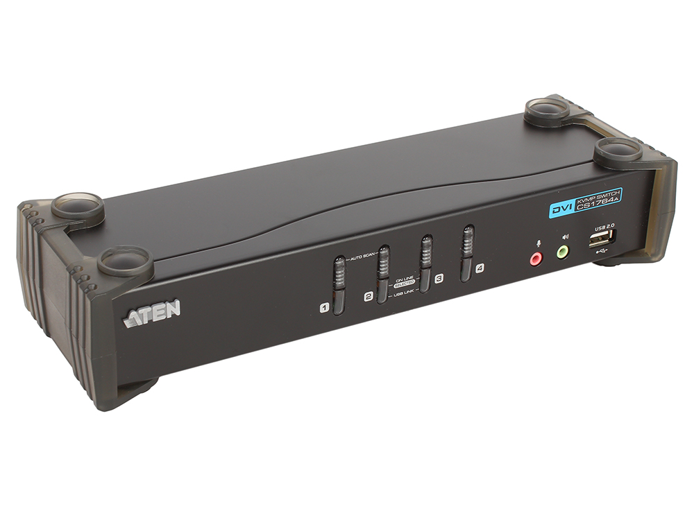 Переключатель ATEN KVM Switch CS1764A-AT-G 4-портовый USB 2.0 DVI KVMP-переключатель (KVM Switch) ckl 4 port usb vga kvm switch support audio