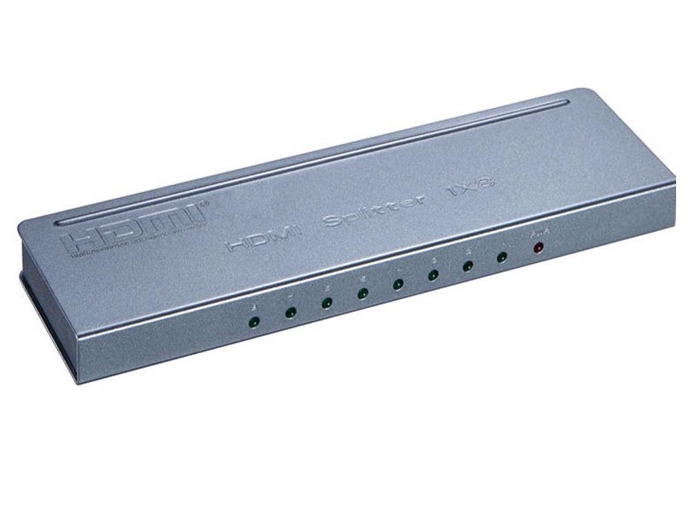 Разветвитель Orient HSP0108H-mini, HDMI 4K Splitter 1-8, HDMI 1.4/3D, UHDTV 4K(3840x2160)/HDTV1080p/1080i/720p, HDCP1.2, внешний БП 5В/1.5A, метал.кор