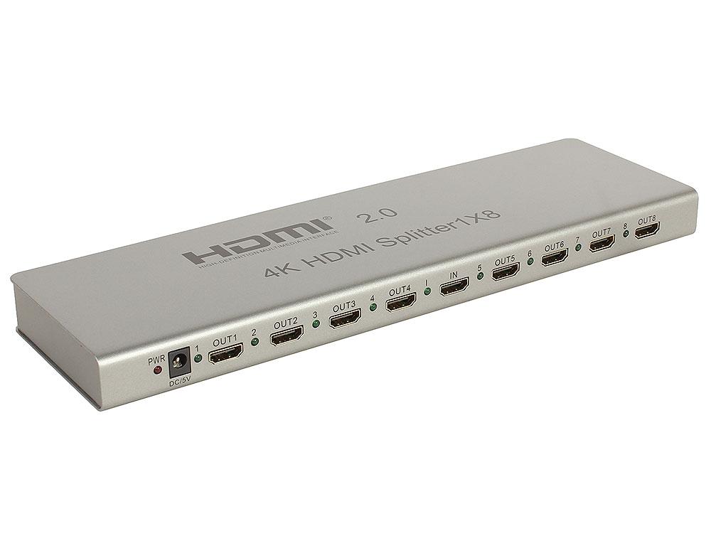 Фото - Разветвитель Orient HSP0108H-2.0, HDMI 4K Splitter 1-8, HDMI 2.0/3D, UHDTV 4K/ 60Hz (3840x2160)/HDTV1080p, HDCP2.2, EDID управление, RS232 порт, IR вход, внешний БП 5В/3А, метал.корпус аксессуар mobiledata hdmi 4k v 2 0 плоский 1 8m hdmi 2 0 fn 1 8