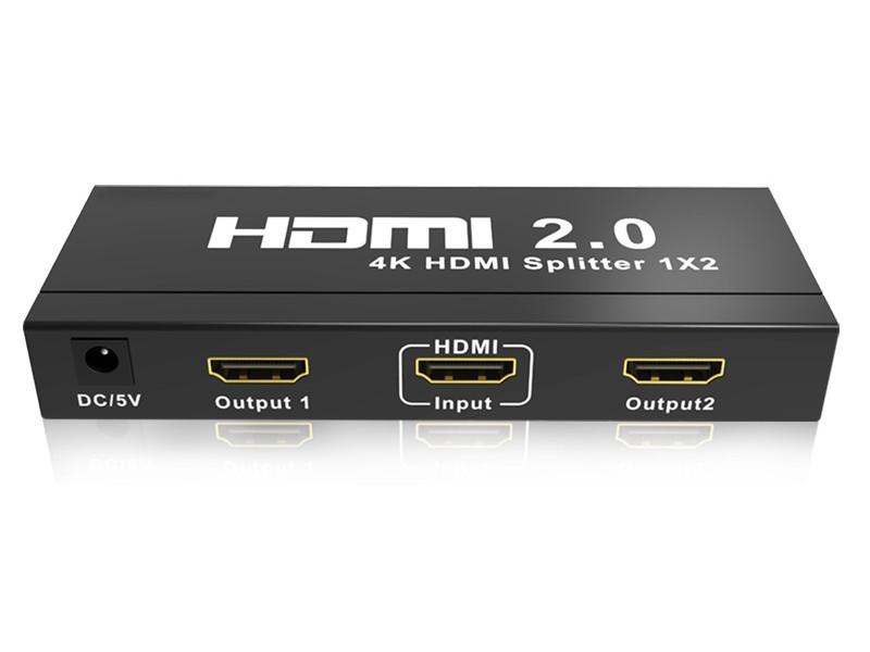 Разветвитель HDMI 4K Splitter ORIENT HSP0102HL-2.0, 1->2, HDMI 2.0/3D, UHDTV 4K/ 60Hz (3840x2160)/HDTV1080p, HDCP2.2, EDID управление, внешний БП 5В/2