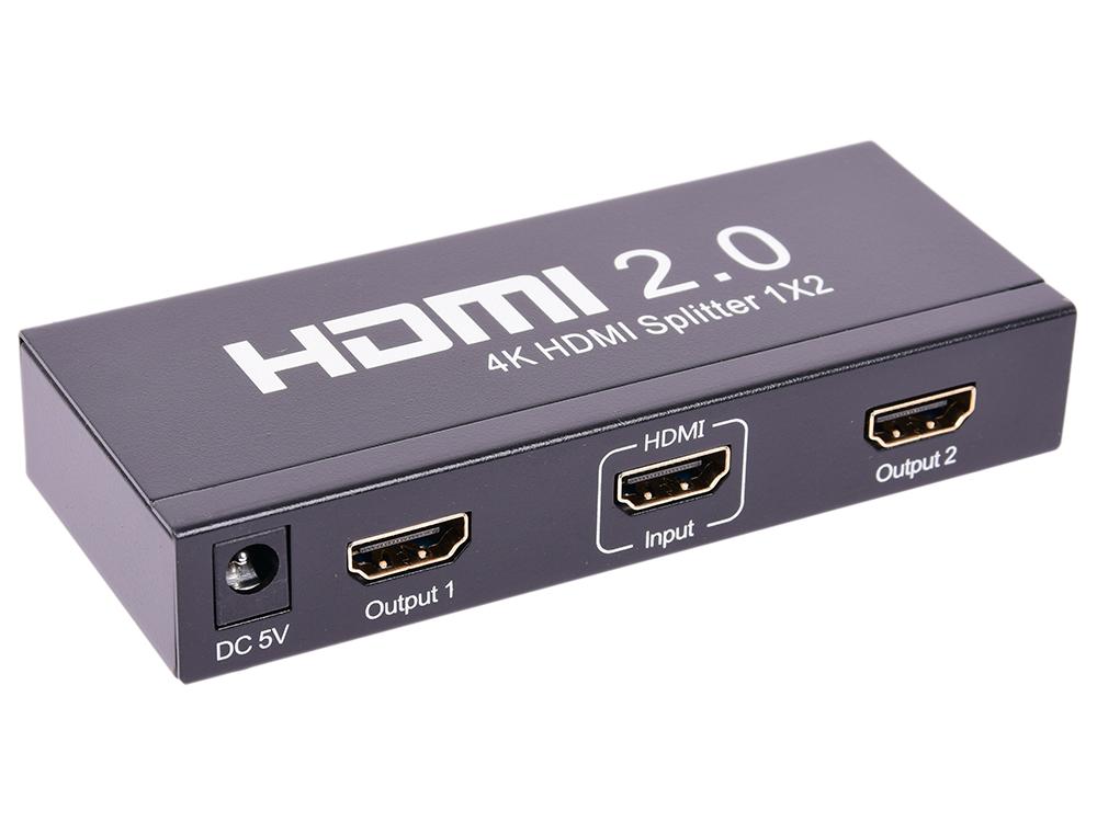 Разветвитель HDMI 4K Splitter ORIENT HSP0102HL-2.0, 1-2, HDMI 2.0/3D, UHDTV 4K/ 60Hz (3840x2160)/HDTV1080p, HDCP2.2, EDID управление, внешний БП 5В/2 сплиттер orient hdmi 4k splitter 1x8 hsp0108h