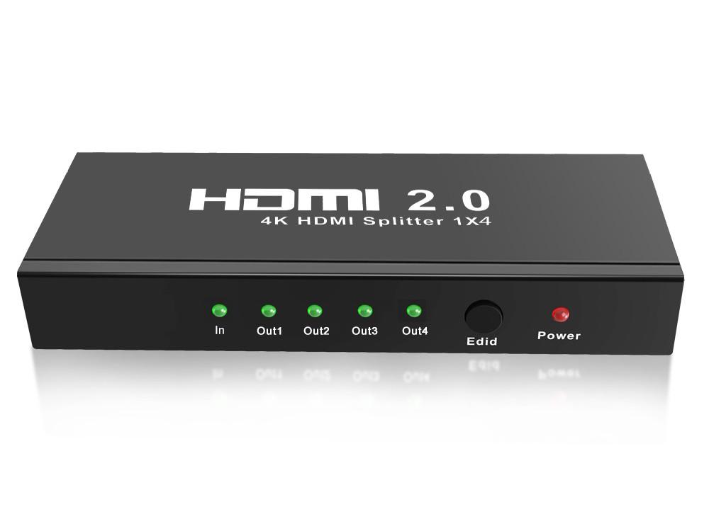 Разветвитель HDMI 4K Splitter ORIENT HSP0104HL-2.0, 1->4, HDMI 2.0/3D, UHDTV 4K/ 60Hz (3840x2160)/HDTV1080p, HDCP2.2, EDID управление, внешний БП 5В/2 beelink r89 rk3288 quad core 1 8ghz android 4 4 mini 4k tv box hdmi hdd player 2g 16g 802 11ac wifi ota bluetooth dlna black