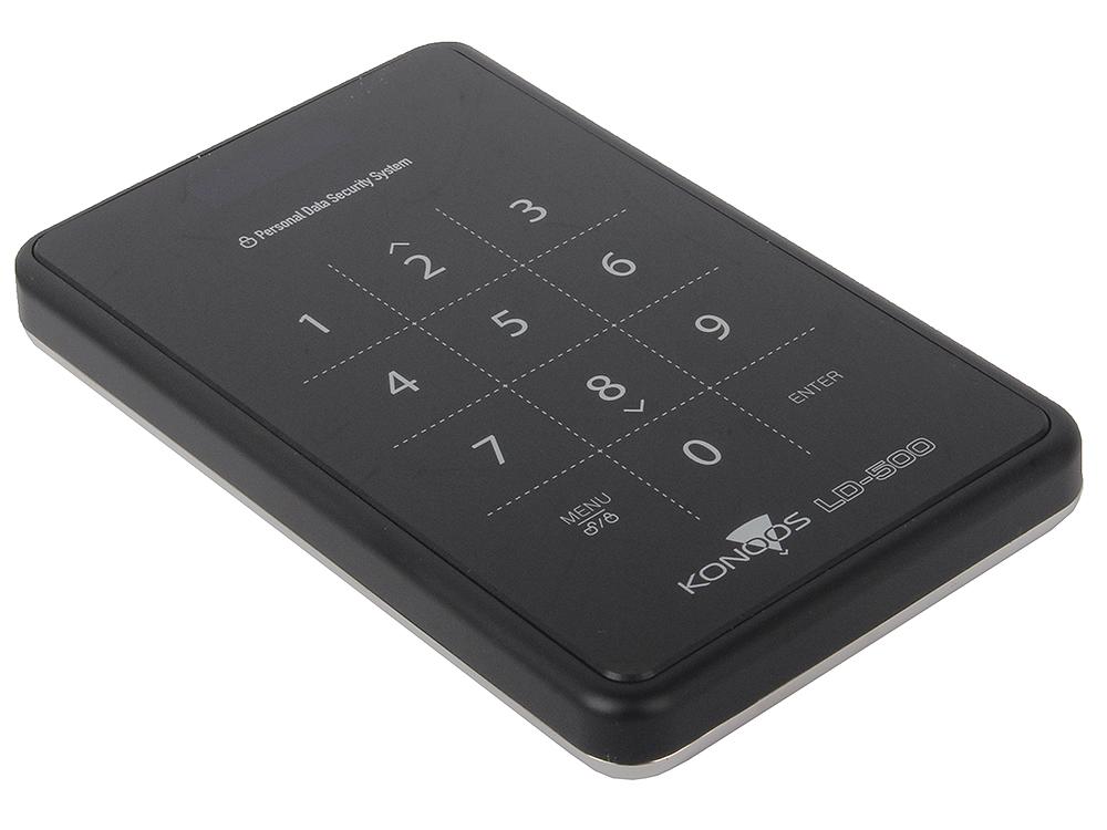 """Мобил рек 2,5"""" SATA Konoos LD-500, черный, экран USB3.0"""