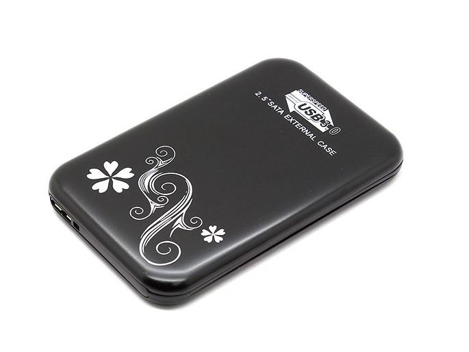"""Мобил рек USB3.0 Orient 2563 U3, для 2.5"""" HDD SATA, алюм., черный с рисунком"""