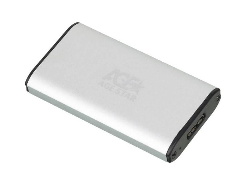 Внешний контейнер для HDD mSATA AgeStar 3UBMS1 USB3.0 пластик/алюминий серебристый