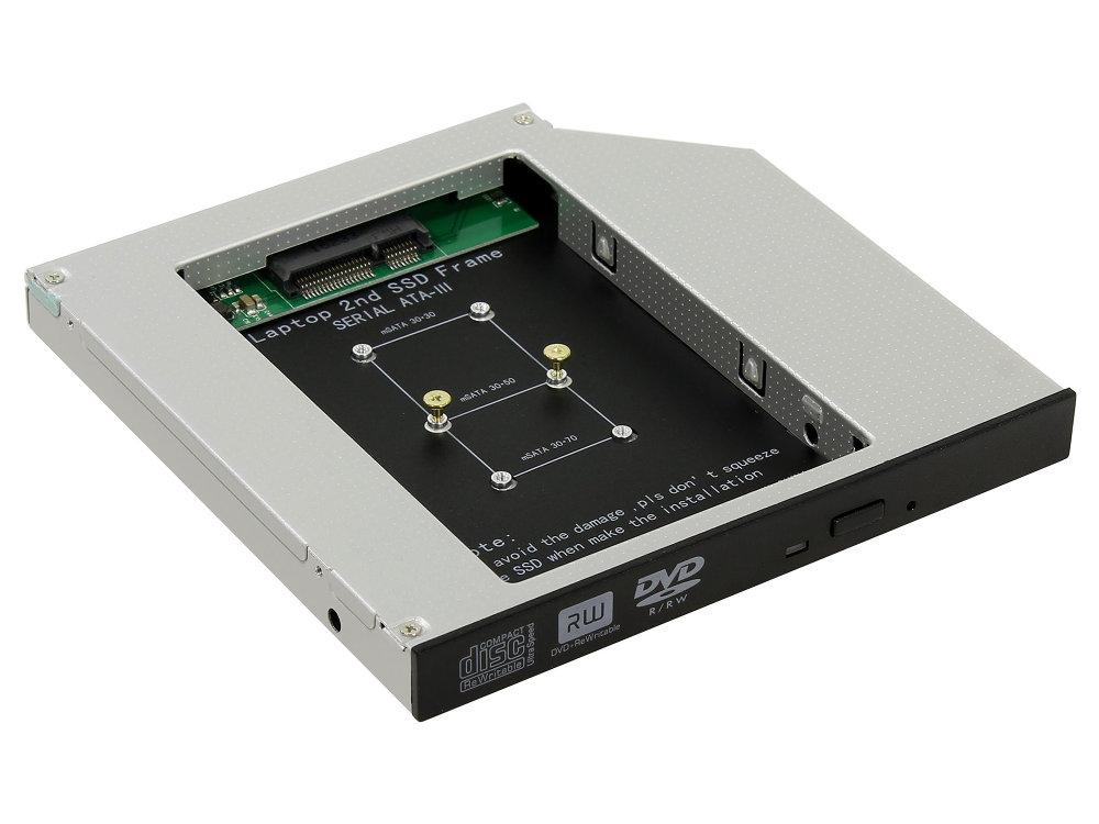 ORIENT UHD-2MSC12, Шасси для SSD mSATA для установки в SATA отсек оптического привода ноутбука 12.7 мм