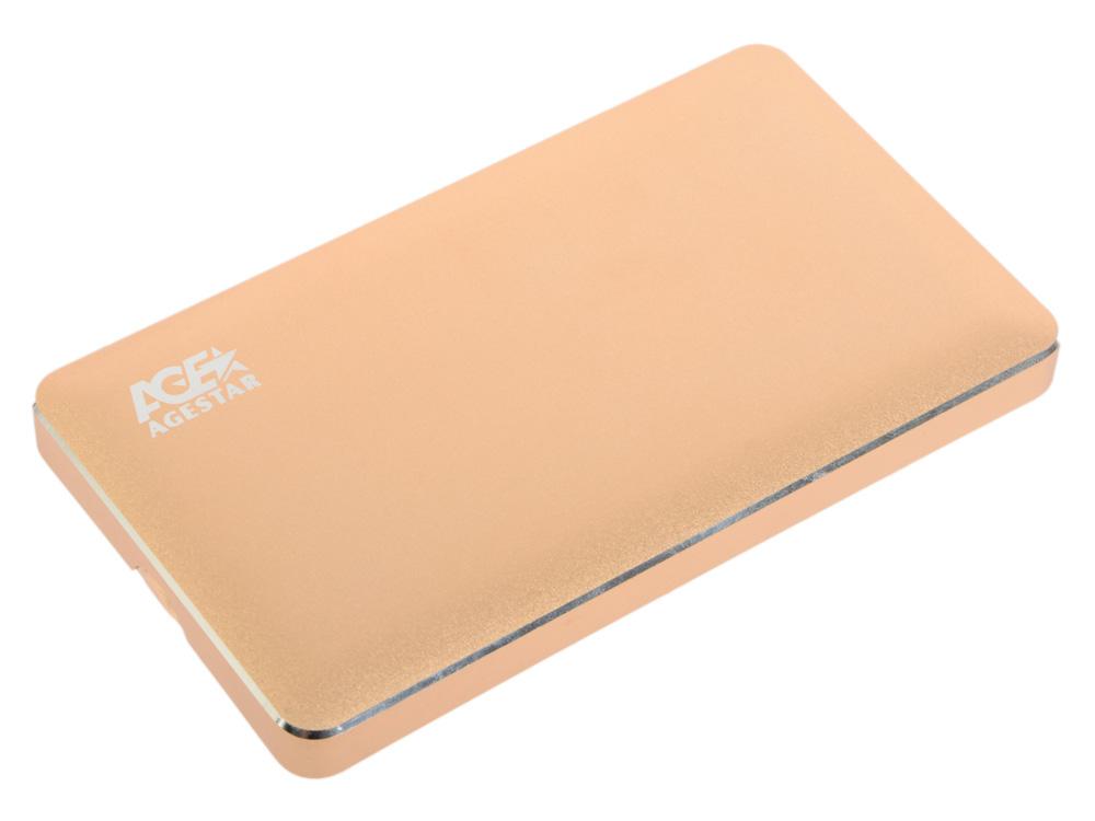 "Внешний контейнер для HDD 2.5"" SATA AgeStar 3UB2A16C USB3.0 type-C алюминий золотистый"