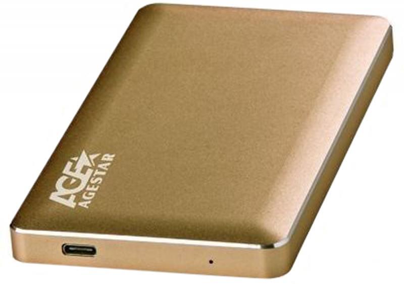 Внешний контейнер для HDD 2.5 SATA AgeStar 31UB2A16C USB3.1 алюминий золотистый mobile rack agestar sr3p sw 3f sata black