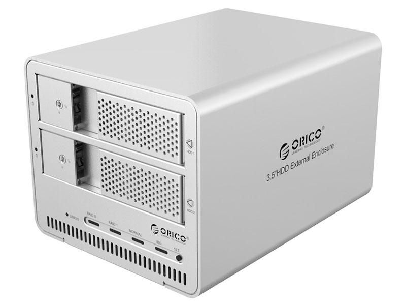 """Внешний контейнер для HDD 2x3,5"""" Orico 9528RU3 (серебристый) USB 3.0"""