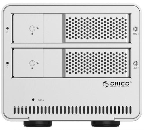 Внешний контейнер для HDD 2x3.5 SATA Orico 9528U3 USB3.0 серебристый внешний контейнер для hdd 2x3 5 sata orico 9528u3 usb3 0 серебристый