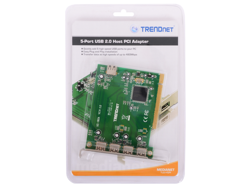 Контроллер Trendnet TU2-H5PI  5-ти портовый хост-адаптер PCI-USB 2,0