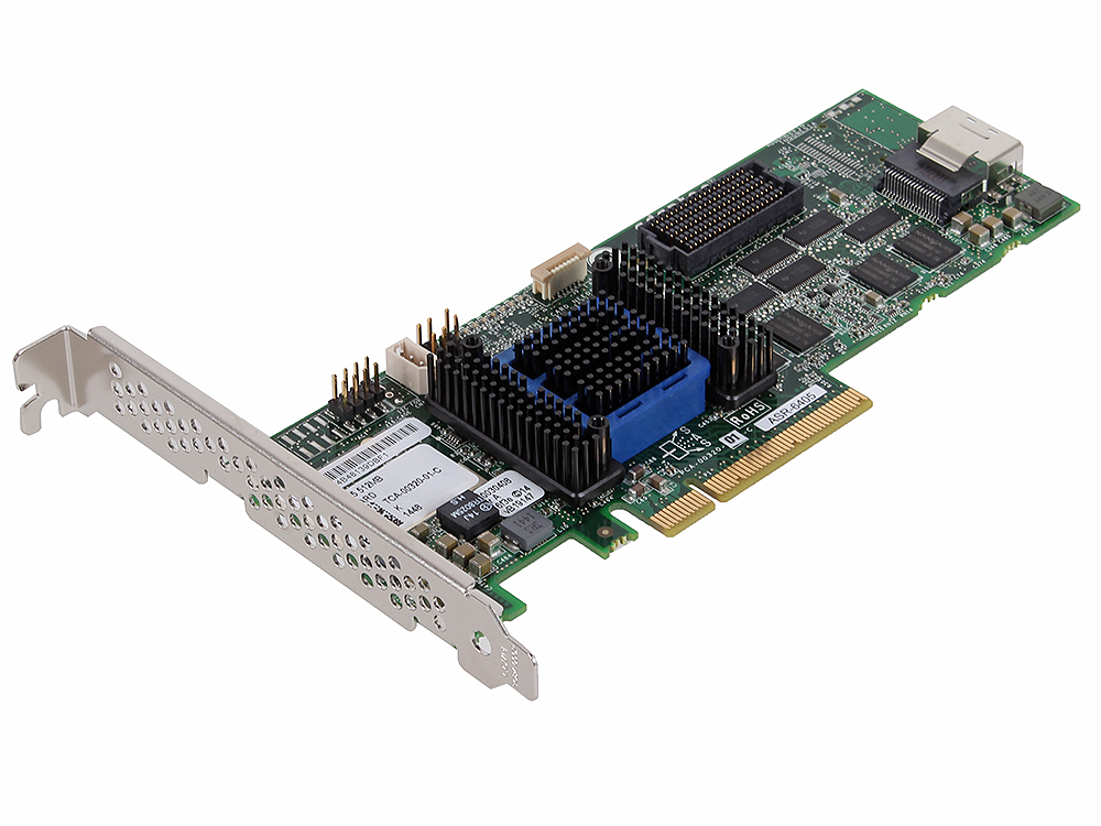 Контроллер Adaptec ASR-6405 KIT (2271100-R) SAS 6G, (PCI-E v2 x8, LP) RAID 0,1,10,5,6,50, 4port(intSFF8087), 512Mb onboard, Каб.(1шт#0244517