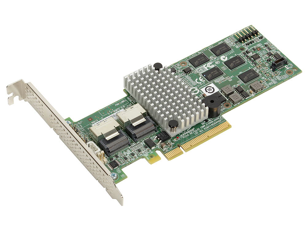 Контроллер LSI MegaRAID SAS9260-8I SGL (LSI00198) SAS6G, (PCI-E 2.0 x8, LP) RAID 0,1,10,5,6, 8port (2*intSFF8087),512MB onboard, Каб