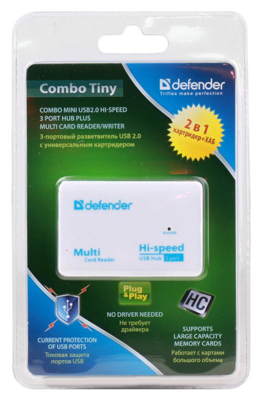 Концентратор USB2.0 HUB 3 порта Defender COMBO TINY + Картридер