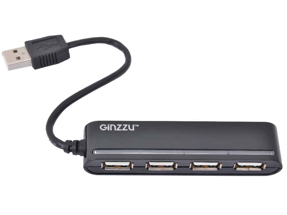 Концентратор USB2.0 HUB 4 порта Ginzzu GR-434UB