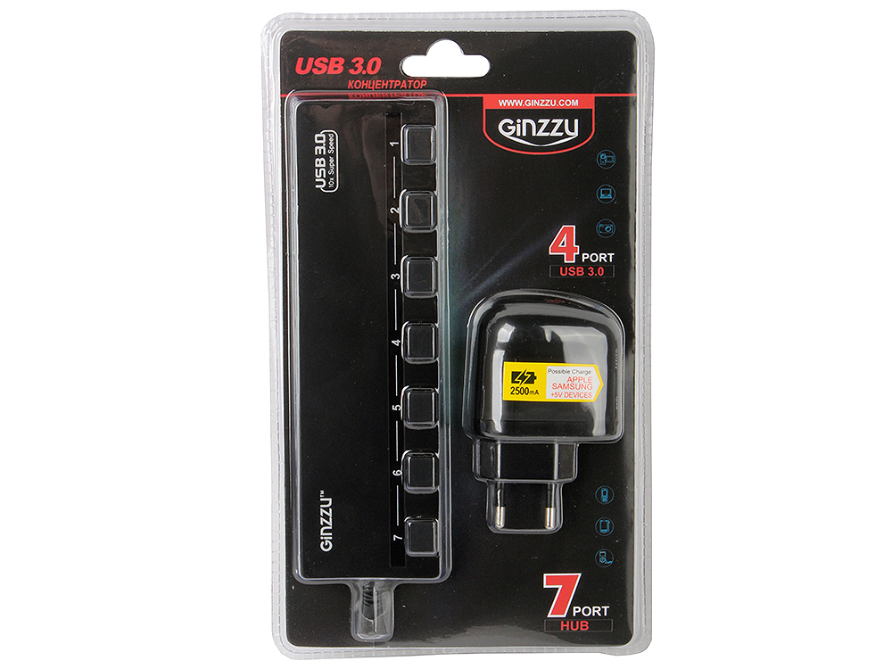 Концентратор USB3.0 HUB 7 портов (3xUSB2.0 + 4xUSB3.0) Ginzzu GR-388UAB + блок питания