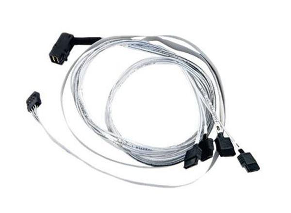 Кабель Adaptec ACK-I-rA-HDmSAS-4SATA-SB-0.8M (2280000) Кабель SAS внутр., 80см., разъемы SFF8643(угловой) -to- 4*SATA(прямой)+SideBand