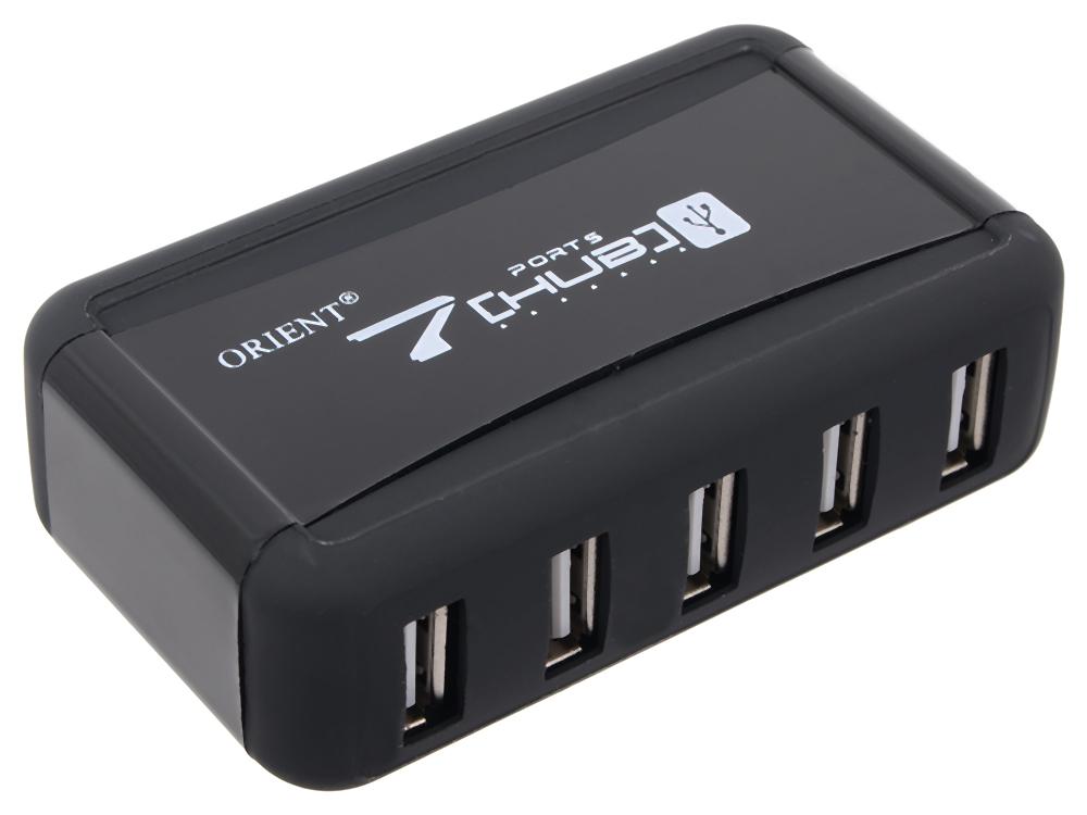 Концентратор USB 2.0 Orient KE-700NP (7 Port, c БП 1xUSB (5V, 2A), подставка для вертикальной установки, цвет черный)