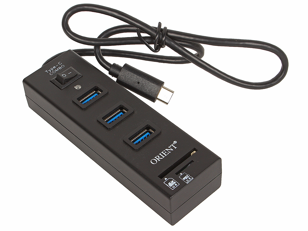 Концентратор USB 3.0 ORIENT JK-331, Type-C HUB 3 Ports + SD/microSD CardReader, выкл., черный, кабель тип С qhe 3 in 1 usb 2 0 hub 3 port usb hub with sd tf mico sd card reader