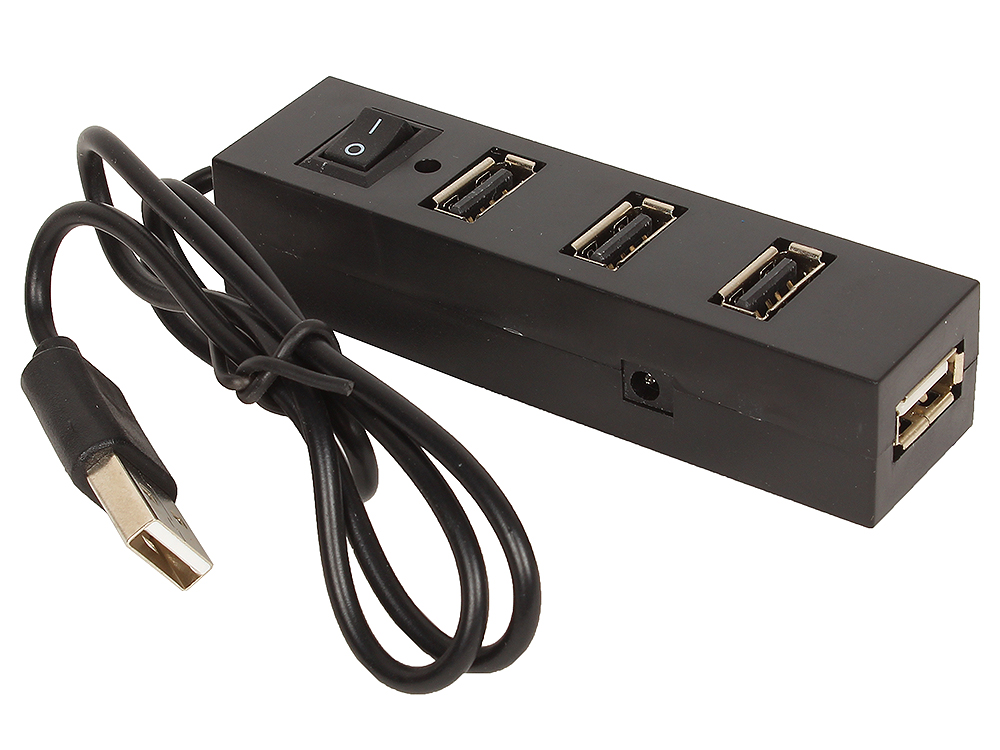 Концентратор USB 2.0 Orient TA-400, 4 Ports, 3xUSB сверху, 1xUSB с торца, выключатель, разъем доп.питания, черный