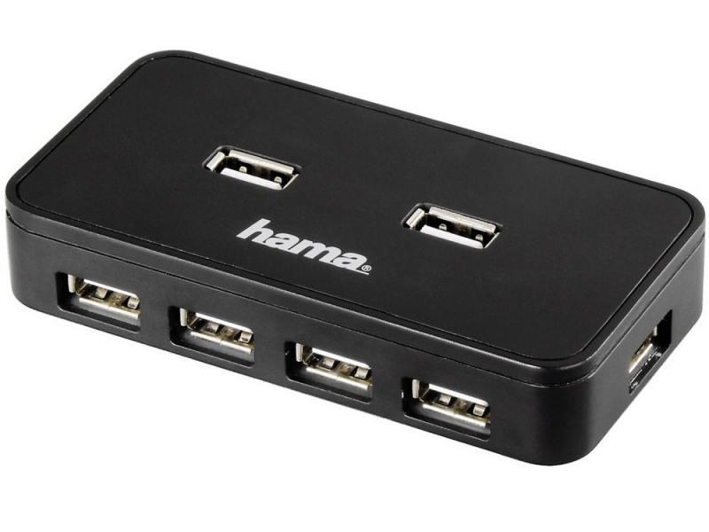Концентратор USB Hama H-39859 7 портов USB2.0 активный черный