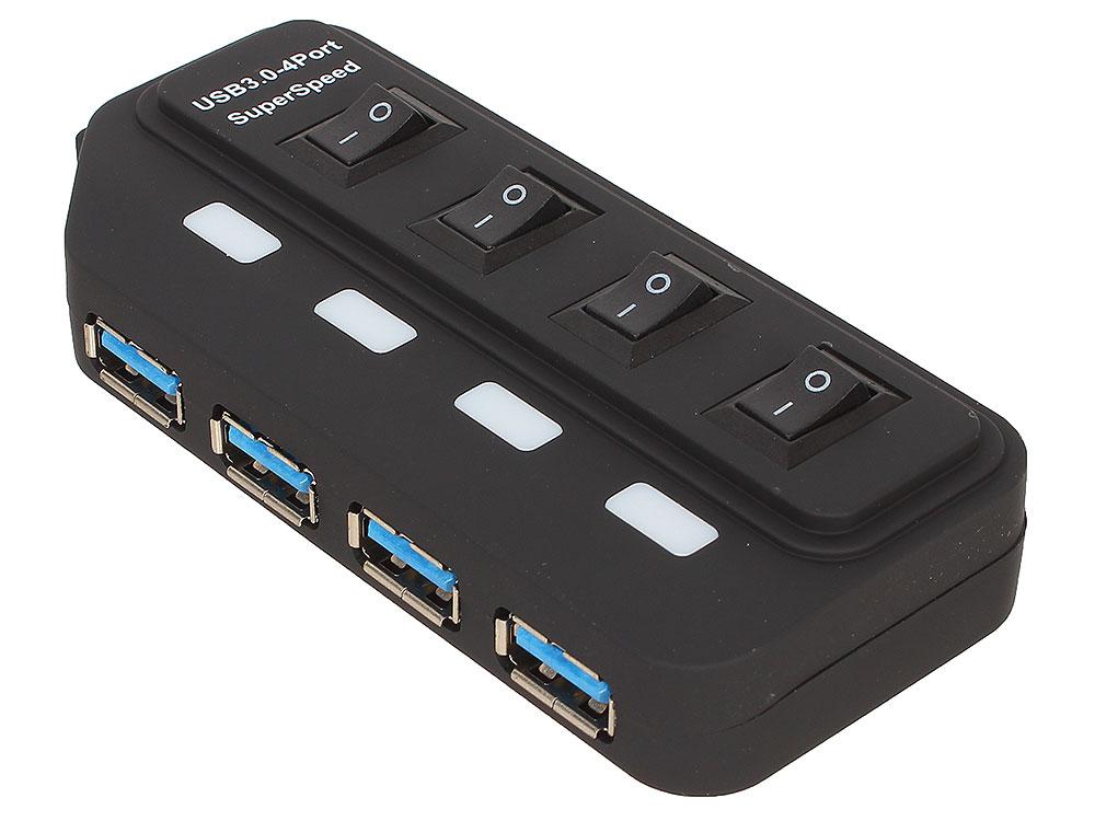 Концентратор USB 3.0 ORIENT BC-306PS, USB 3.0 HUB 4 Ports, c БП-зарядником 2xUSB (5В, 2.1А), выключатели на каждый порт, черный концентратор orient jk 341 type c usb 3 0 hub 3 ports gigabit ethernet adapter rts5140 rtl8153 chipset rj45 10 100 1000 мбит с usb штекер тип