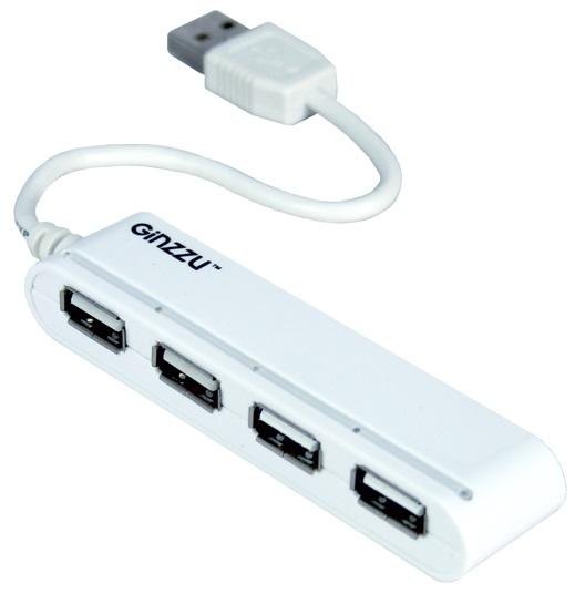 Концентратор USB 2.0 Ginzzu GR-434U, 4-х портовый