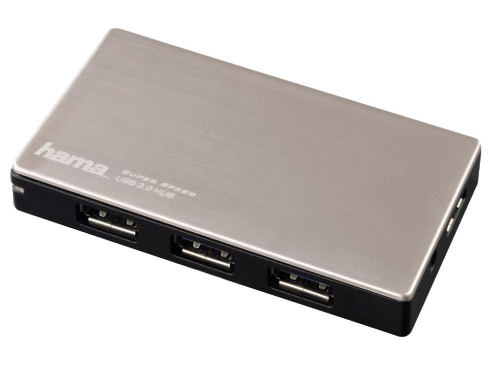 Концентратор USB Hama H-54544 4 порта USB3.0 черно-серебристый + блок питания 5Гбит/сек концентратор usb hama h 54140 2 порта черный