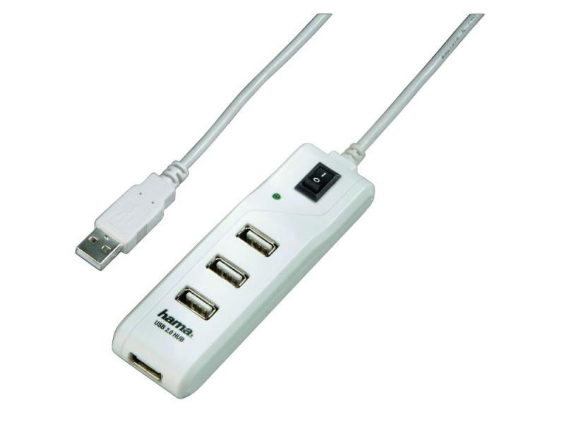 Концентратор USB Hama H-54591 4 порта USB2.0 энергосберегающий пассивный белый