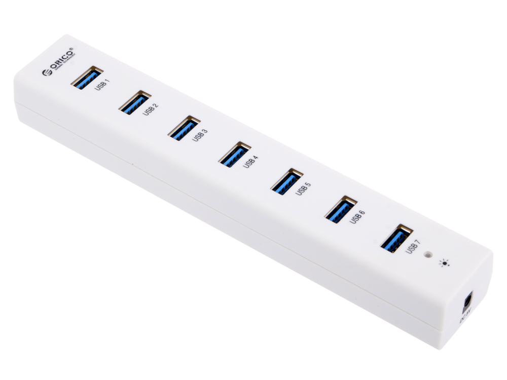 Концентратор USB Orico H7013-U3 (белый) USB 3.0 x 7, адаптер питания концентратор usb orico h73 серебристый usb 3 0 x 7 адаптер питания