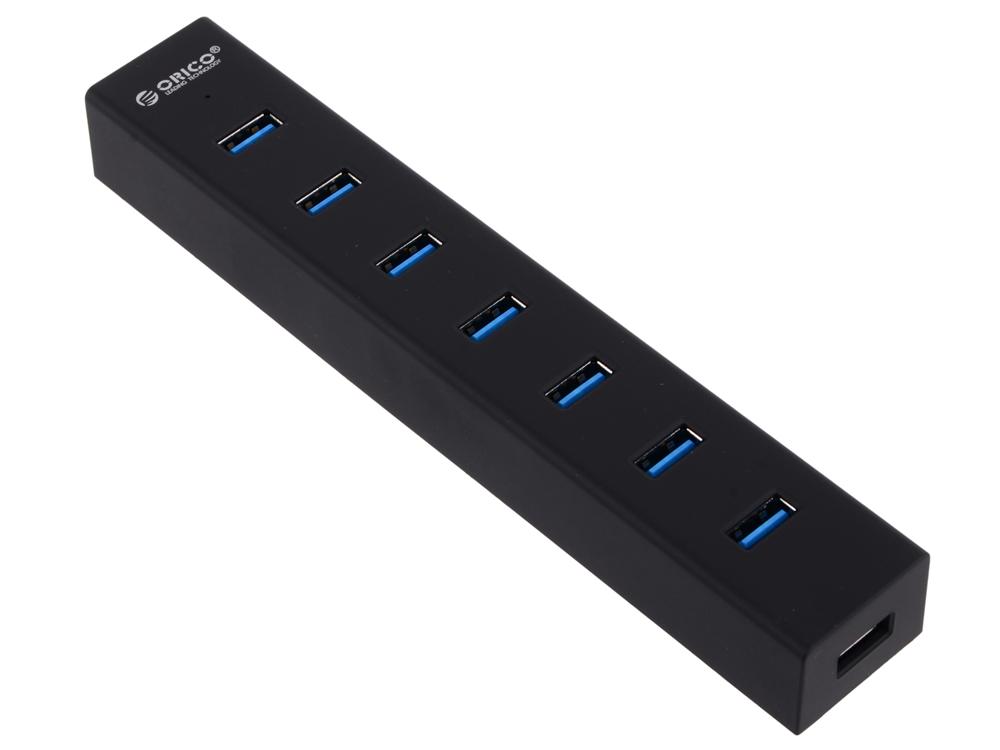 Концентратор USB Orico H7013-U3 (черный) USB 3.0 x 7, адаптер питания концентратор usb orico h73 серебристый usb 3 0 x 7 адаптер питания