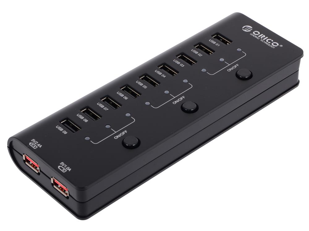Концентратор USB Orico HF9US-2P (черный) USB 2.0 x 9, 5V2.1A*2/5V1A*1 Charger ports