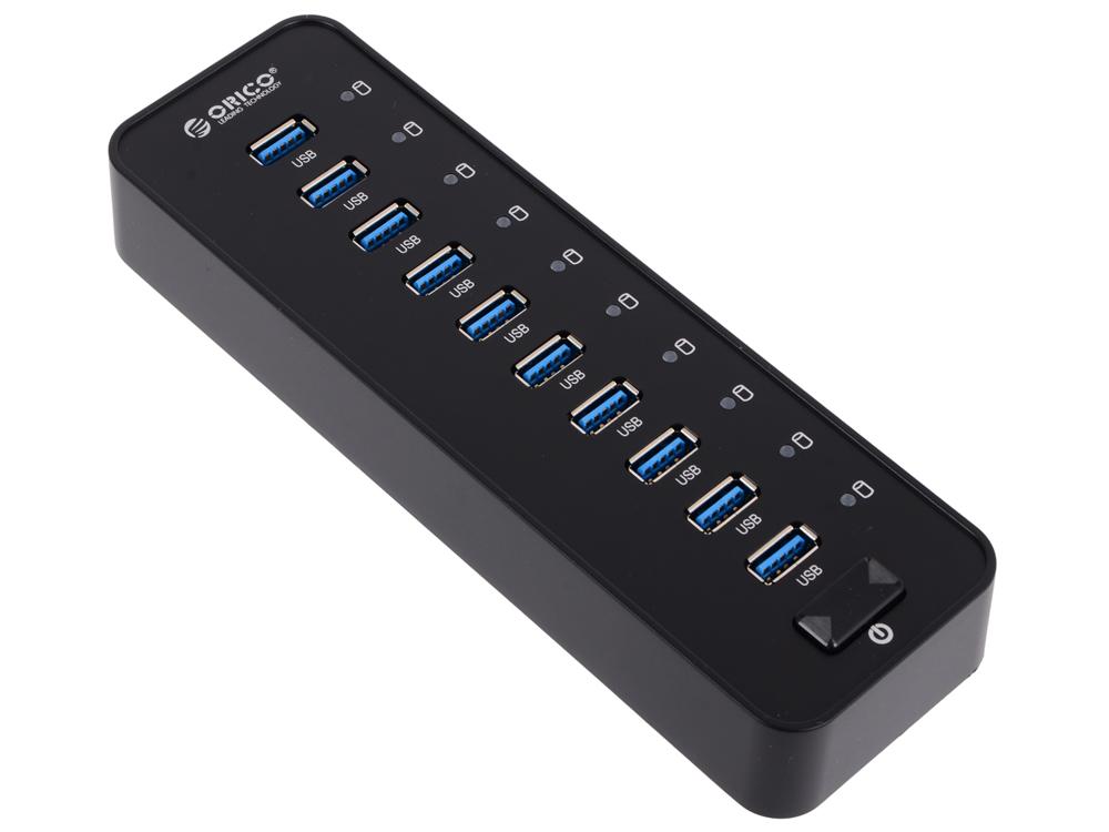 Концентратор USB Orico P10-U3 (черный) USB 3.0 x 10, адаптер питания концентратор usb 3 0 orico w5ph4 u3 bk 4 х usb 3 0 черный