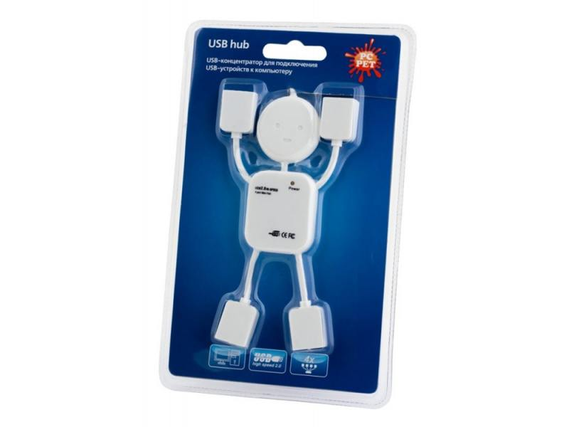 Концентратор USB PC Pet Human 4 порта USB2.0 белый