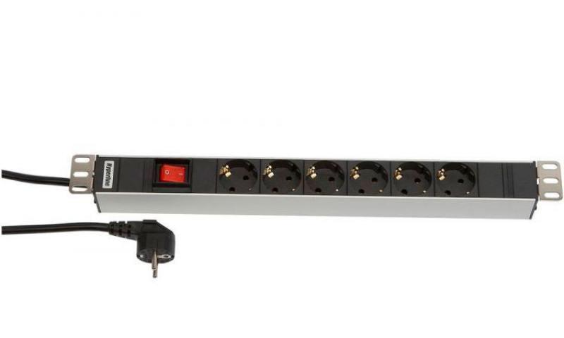 Картинка для Блок розеток Hyperline SHT19-6SH-S-2.5EU 6 розеток 2.5 черный